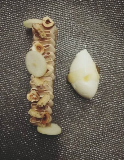 Sablé noisette amande poire ganache jivara sorbet pastis