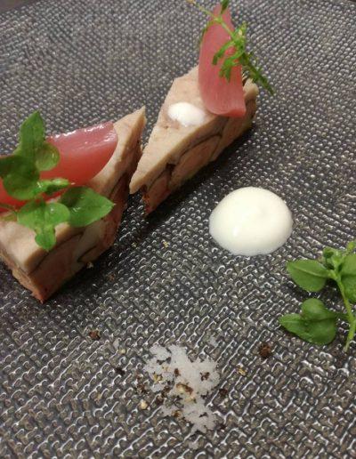 Foie gras anguille fumée pêche